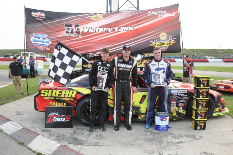 Brandon Watson (middle) won the APC Late Model Series race at Flamboro Speedway, on Sunday. Pete Shepherd III (right) was second, ahead of Treyten Lapcevich (left). CREDIT: Dave Franks Photos