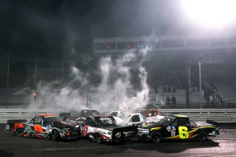 The NASCAR Truck Series race at Knoxville Raceway was a caution-filled affair, especially the finish. CREDIT: James Gilbert / Getty Images